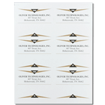 Gold and black trangle design Oliver Technologies mailing & shipping labels on sheet sample