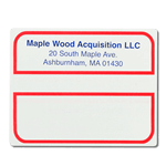 Red outline and blue text Maple Wood Acquisition mailing & shipping label sample