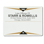 Gold and black triangle design Starr & Rowells mailing and shipping label sample