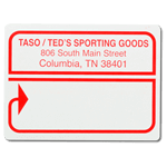 Red arrow outline design Teds Sporting Goods mailing & shipping label sample