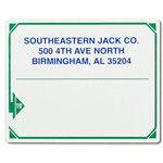 Green triangle arrow outline design with Blue text Southeastern Jack Co mailing & shipping label sample