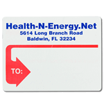 Red thick arrow outline design with blue text Health N Energy mailing & shipping label sample
