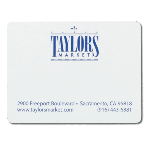 Blue ink on white taylors market custom mailing shipping label sample