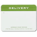 Green ink on white Gordan Chun Design Delivery custom mailing & shipping label sample