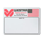 Black and red logo and flag on white WESTAR custom mailing & shipping label sample