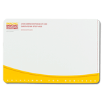 Yellow and red ink on white Imaging Concepts custom mailing & shipping label sample