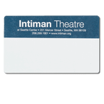 Blue ink on white Intiman Theatre custom mailing & shipping label sample
