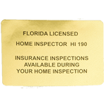 Black ink on gold foil rectangle Florida Licensed Home Inspector custom roll label sample
