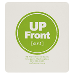 Green circle logo and address on white square UP Front art custom roll label sample