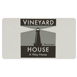Gray and black lighthouse on white rectangle Vineyard House custom roll label sample