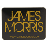 Black and mustard yellow graphic text James Morrison rectangle custom roll label sample