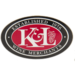 Black and red K&L logo with grapes on white oval custom roll label sample