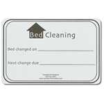 Bed Cleaning name badge showing bed change dates