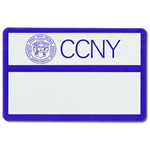 Name badge with blue border for CCNY