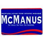 Blue political campaign name badge sticker