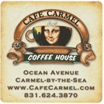Vintage beige background with Mona Lisa in coffee cup square Cafe Carmel Coffee House process color label