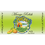 Green Hawaii beach scene with palm tress rectangle PukaDog Mango Relish process color label