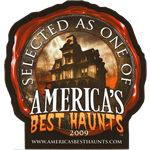 Haunted house in wax stamp custom shape America's Best Haunts process color label