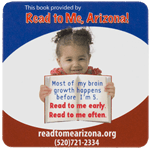 Child with book square Read to Me, Arizona! process color label