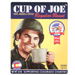 Army man drinking coffee rectangle Cup of Joe process color label