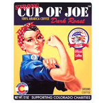 Rosie the Riveter rectangle Strong Cup of Joe process color label