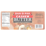 Cashew nuts and tan background rectangle Dan D Pak Cashew Butter process color label