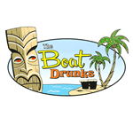 Illustrated Tiki carving and beach scene oval The Boat Drunks process color label