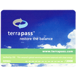 Blue sky with clouds background and Terrapass logo rectangle process color label