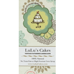 Illustrated 3-tier cake and decorative background rectangle LuLu's Cakes process color label