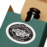 Wine gift box with oval product label on box