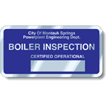 Ultra Blue on Aluminum Round Corner Rectangle Boiler Inspection Rating Plate