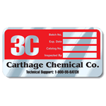 Red and Black on Aluminum Round Corner Rectangle Carthage Chemical Co Rating Plate