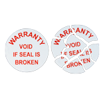 "Round destructible ""Warranty Void"" seal with red text"