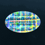 Sample of an oval shape label with text printed on Hyper Plaid Pattern material