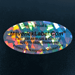 Sample of an oval shape label with text printed on Cracked Ice Pattern material