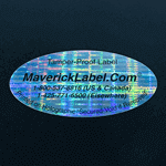 "Oval shape label with text printed on ""Secured - Void If Removed"" material"