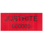 Black on Red Rectangle Justrite Equipment Label with Serial Numbering