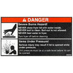 Red and Black on White Rectangle Danger Usage Warning Industrial Label