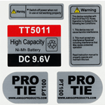 Industrial Pro Tie 5 Label Kit Printed on Brushed Silver