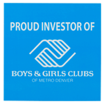 Bright blue Boys & Girls Club logo on white rectangle custom static cling decal sample