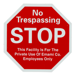 Red and white stop sign No Trespassing custom static cling sample