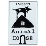 Black dog on house logo on white rectangle I Support Animal House custom static cling decal sample