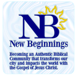 Blue NB and yellow sun logo on clear square New Beginnings custom static cling decal sample