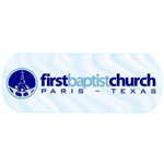 Dark and light blue tower logo on clear oval First Baptist Church custom static cling decal sample
