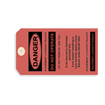 Red danger equipment lockout paper tag
