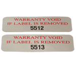 Red ink and black serial number on silver rectangle Warranty Void If Removed tamperproof security label sample