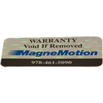 Black and blue MagneMotion logo on holographic void material tamperproof security label sample