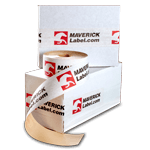 White paper packaging tape roll and applied on white cardboard boxes