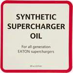 Red and black on white paper square Synthetic Supercharger Oil cheap label