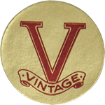 Red V on gold paper circle Vintage cheap label